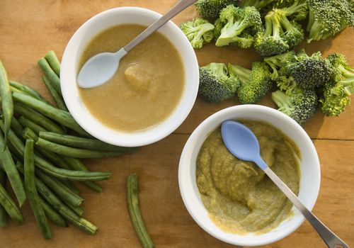 Homemade baby food with broccoli and green beans