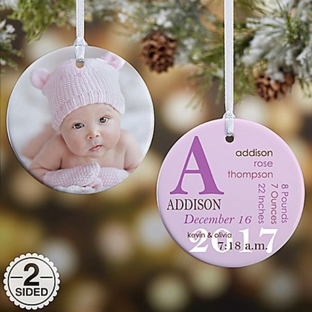 All About Baby Photo Birth Ornament