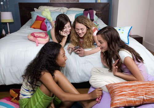 Teenage girls at slumber party