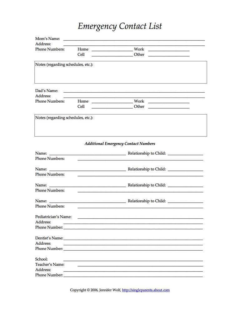 Free printable forms for single parents emergency contact form solutioingenieria Image collections
