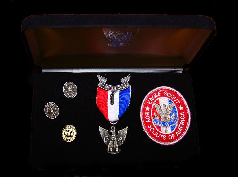 Eagle Scout awards in a box