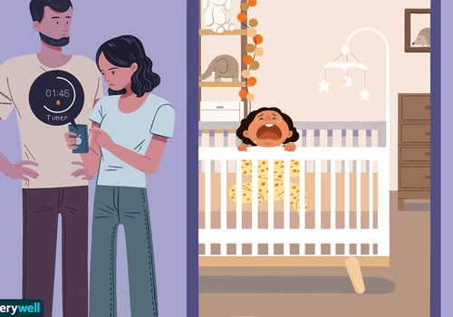 Child crying in their crib with parents outside