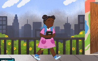 drawing of little girl walking to school with smog in the background