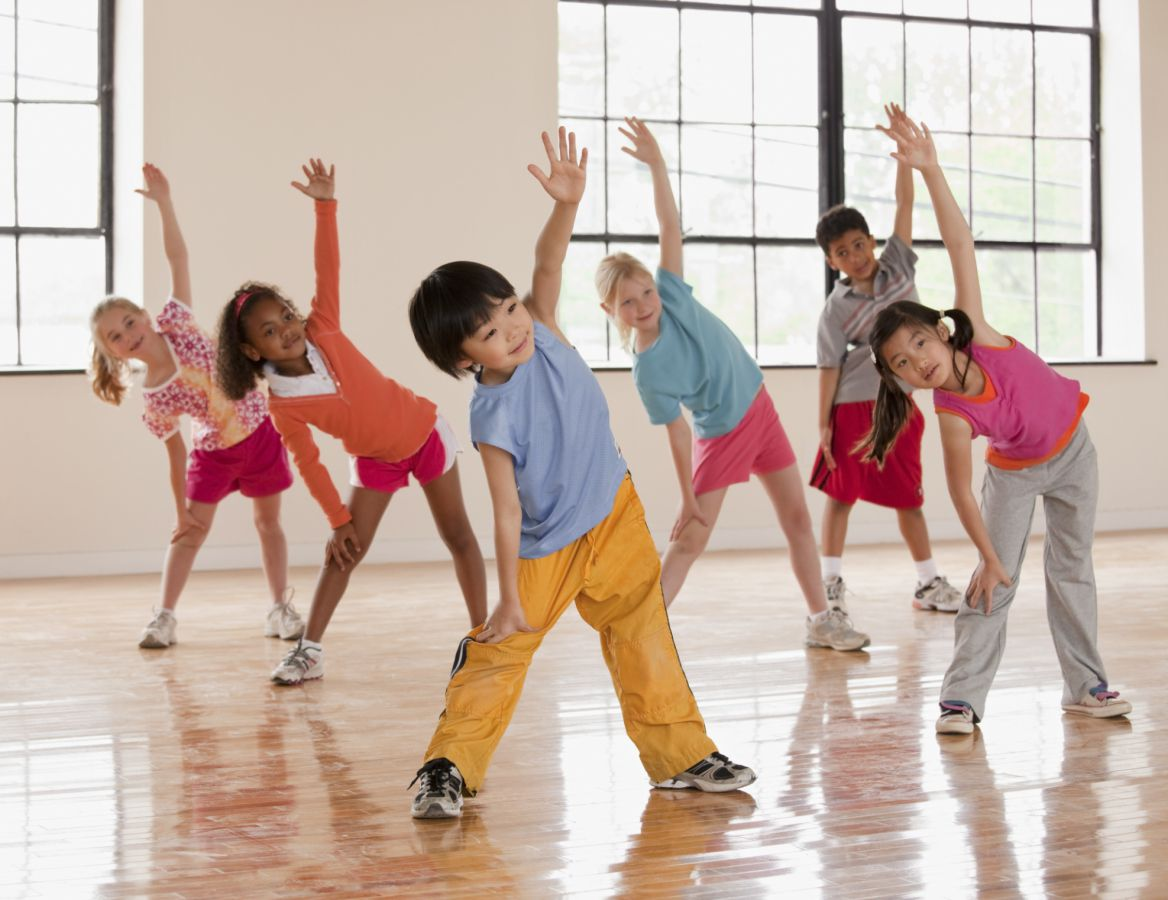 Group of young kids stretching