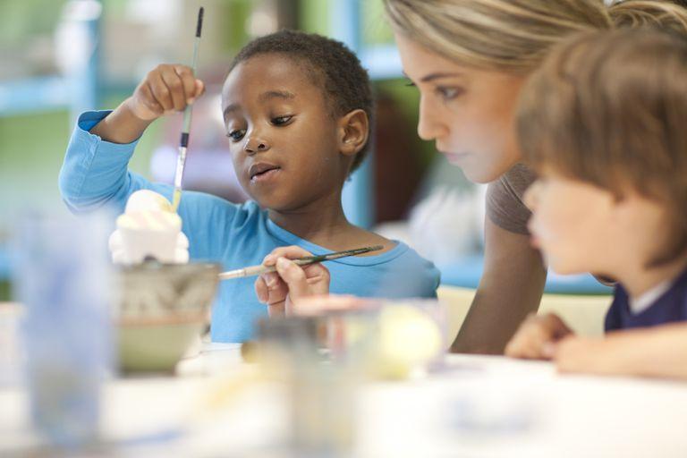 Teacher and children in art class