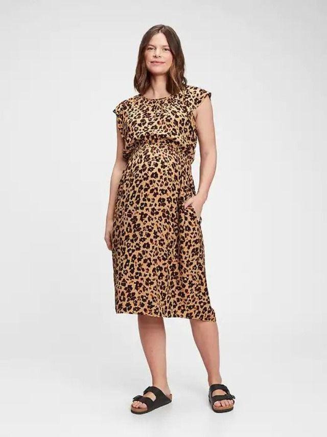 Gap Maternity Smocked Flutter Sleeve Dress