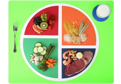 MyPlate balanced nutrition with protein, fruits, vegetables, grains, and dairy