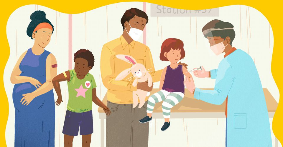 drawing of family getting their covid-19 vaccines