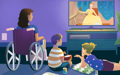 Illustration of watching princess movie