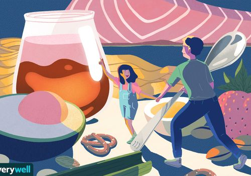drawing of dad and daughter amongst giant food