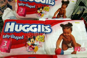 Huggies diapers in a cart.
