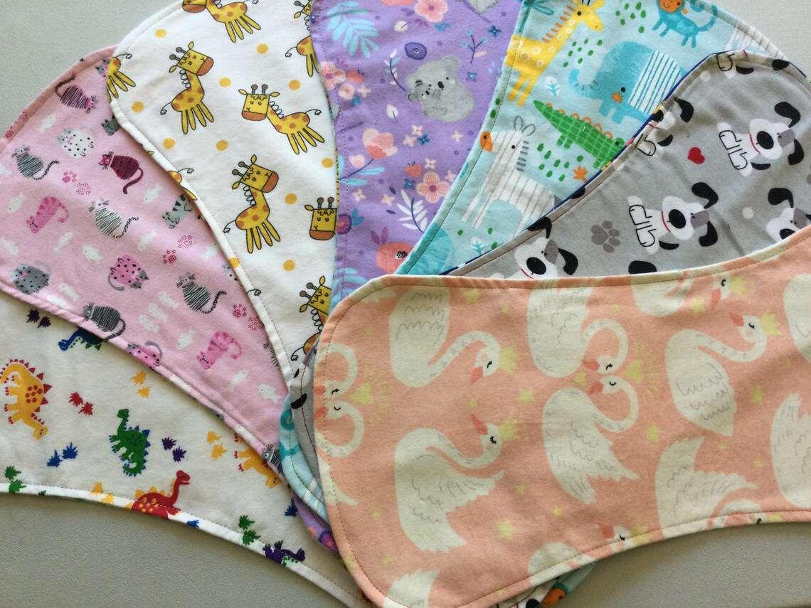 Reversible Baby Burp Cloths Set
