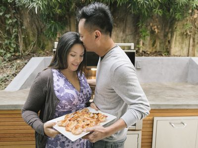 man and woman with shrimp