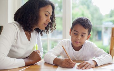 Mother and Son Do Homework Together