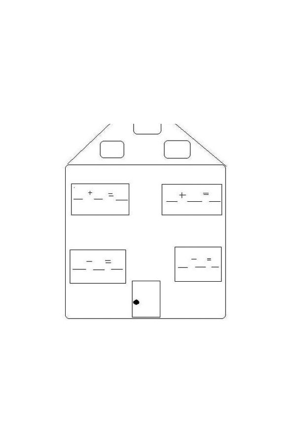 Drawing of a fact family house.