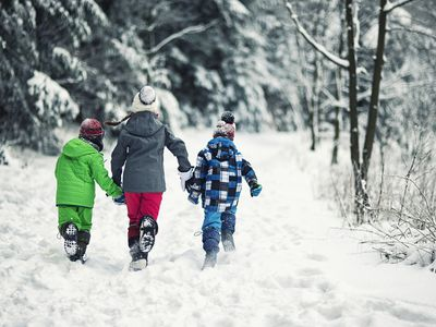 kids in coats and snow