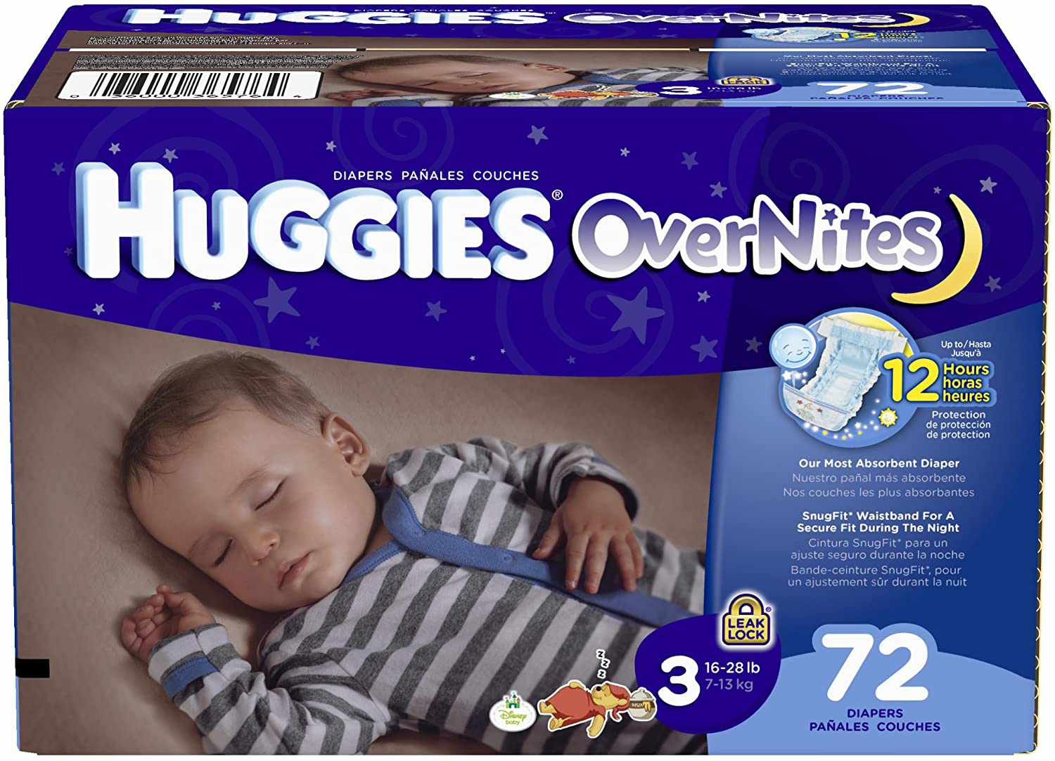 HUGGIES OverNites Diapers, Size 3, 72 Count