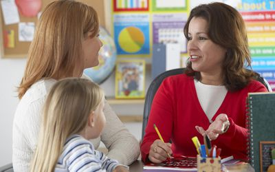 Mother and young daughter with their teacher in classroom.