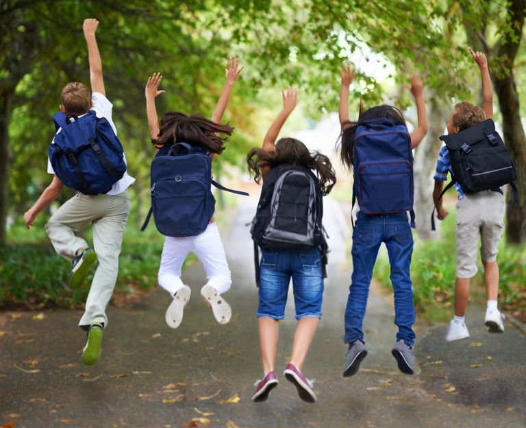 Excited kids wearing backpacks