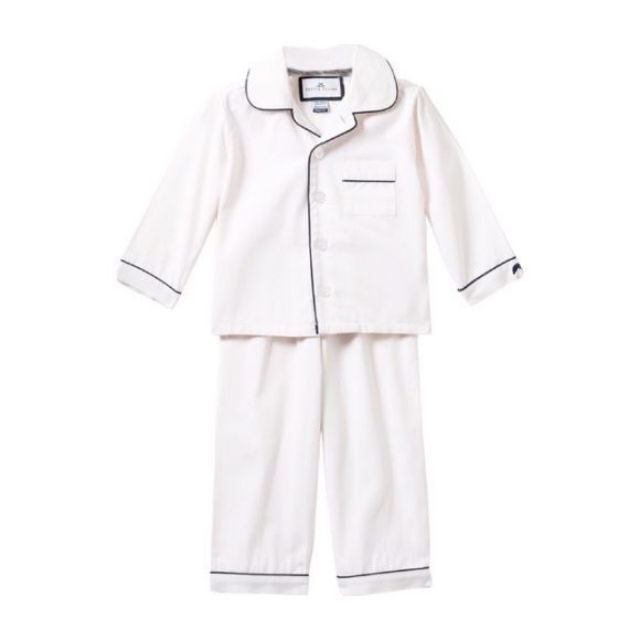 Maisonette Petite Plume White Pajamas with Navy Piping