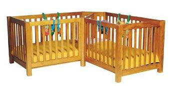 Twin Corner Cot L-Shaped Twin Crib from TwinsThings