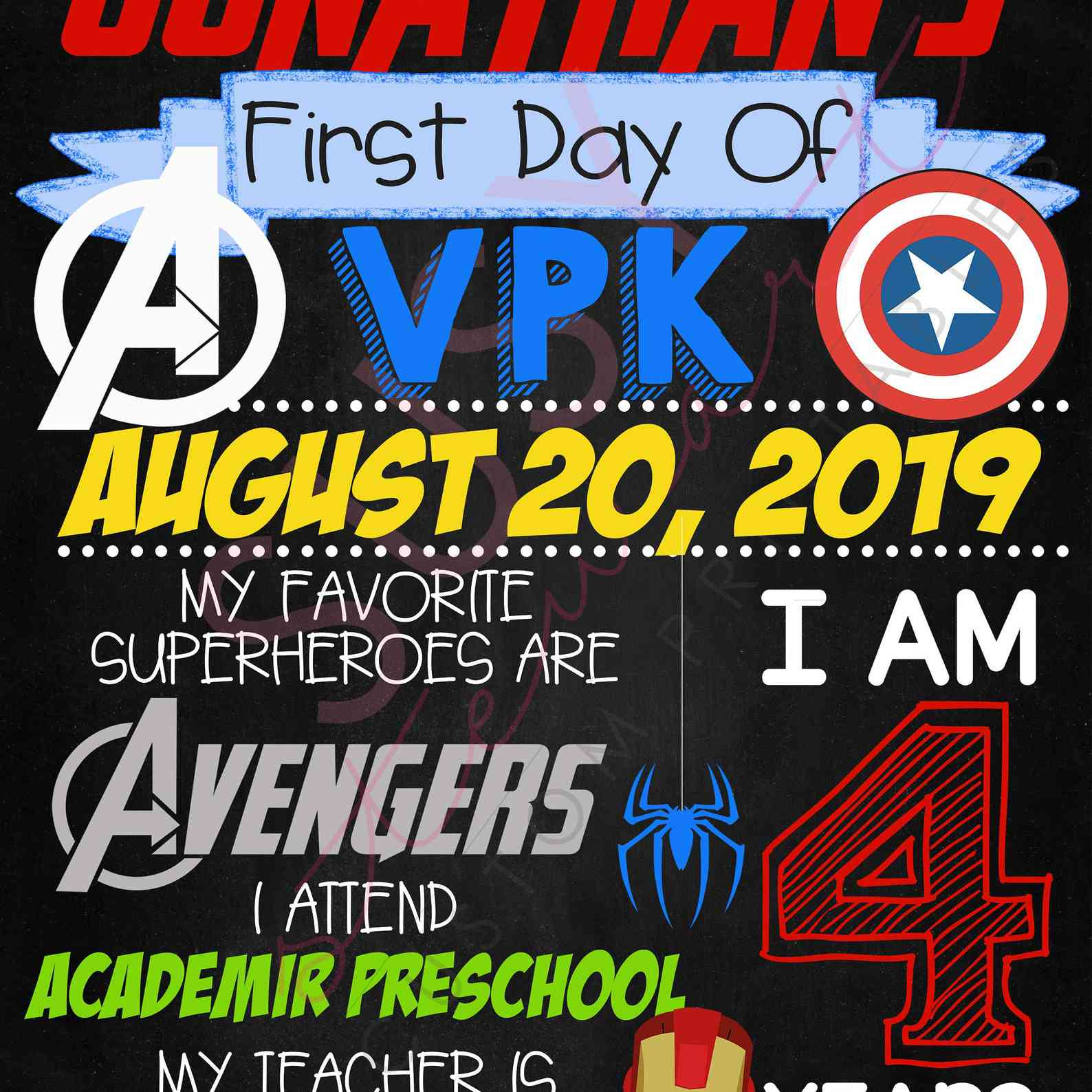 first day of school avenger's sign