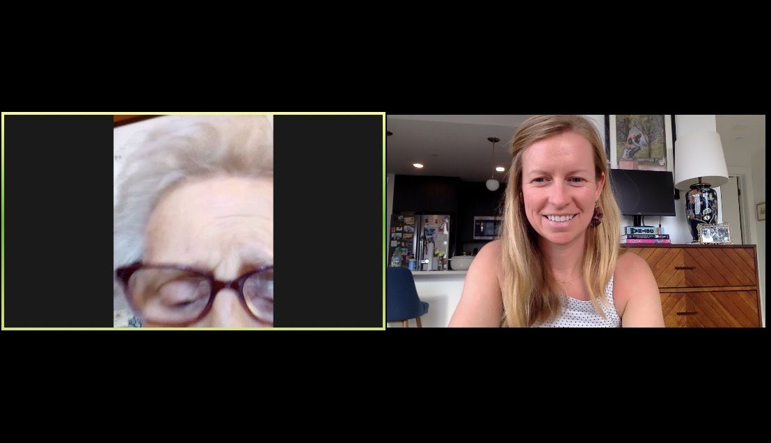 Emily Rose and Mom Mom Faherty on Zoom