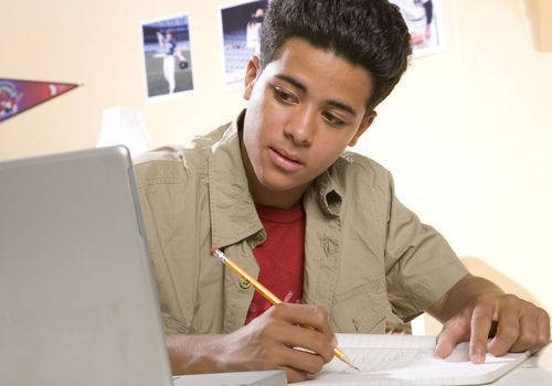 Support your teen's efforts to get his homework done on time.