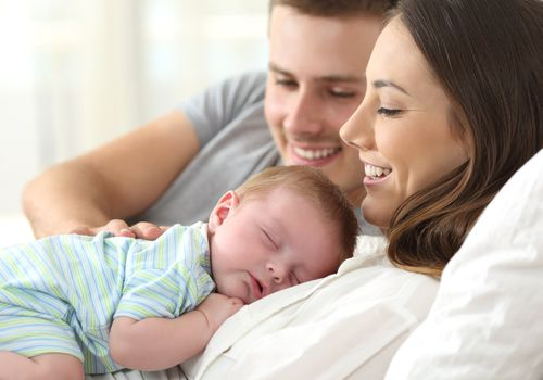 mom, dad and baby
