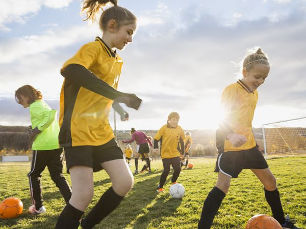 Youth soccer players during a practice.