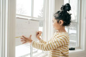 girl and calendar