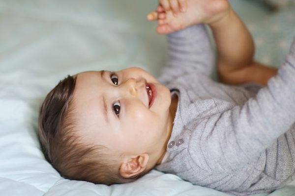 Portrait of a 8 months old baby boy - stock photo