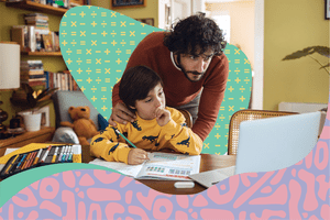 Father helping son virtually learn