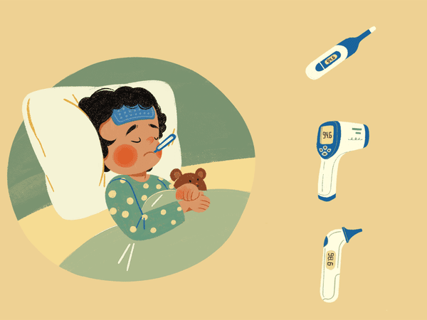 Illustration of child stuck in bed with different kinds of thermometers