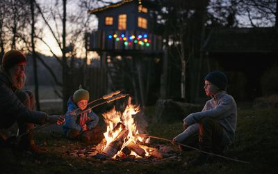 Mature woman and two sons toasting marshmallows on campfire at night