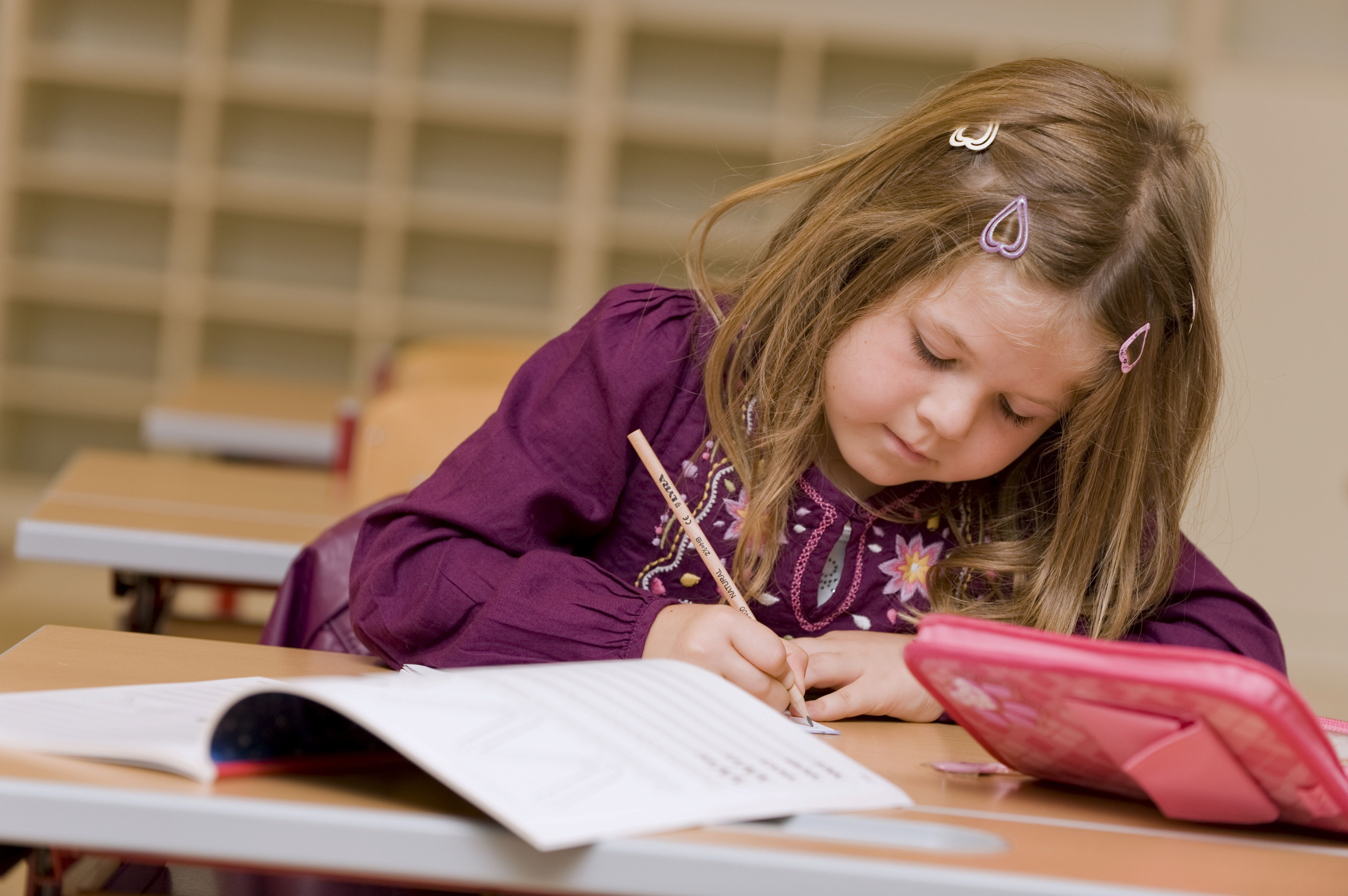 First grader during a lesson