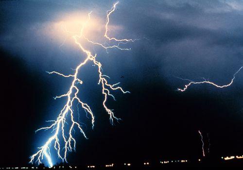 Multiple lightning strikes during a thunderstorm.