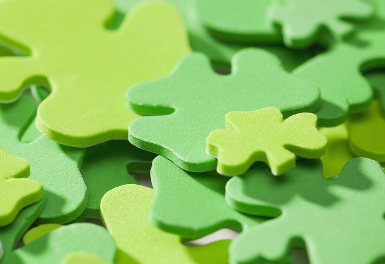 Studio shot of clover-shaped jigsaw pieces