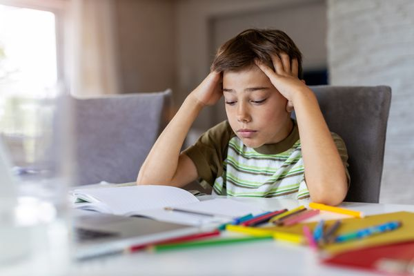 Boy having problems with homework