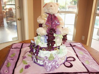 A teddy bear diaper cake made for a baby shower