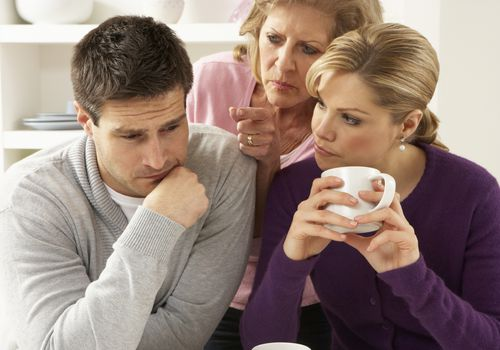 wife and mother-in-law upset with husband