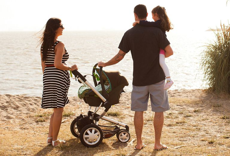Family with Travel System Stroller on Beach