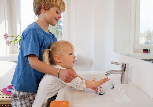 handwashing brother and sister