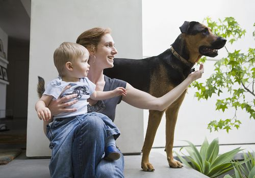 Mother and son with dog