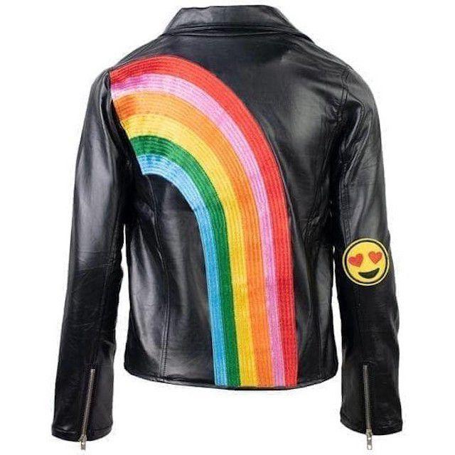Lola + The Boys Happy Rainbow Vegan Leather Jacket