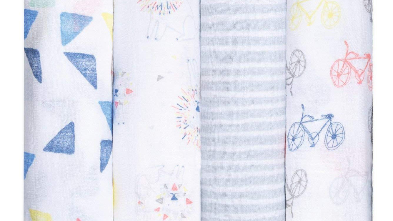 Baby Swaddling Wrap Receiving Blankets for Boys and Girls Made in Soft Cotton Swaddle Blanket Adjustable Infant Baby Swaddling Wrap Set of 4