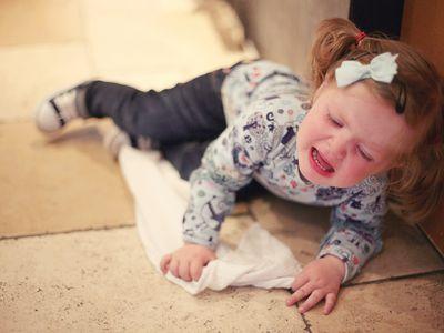 Toddler tantrum on floor