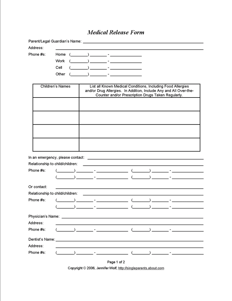 Free printable forms for single parents printable medical release form solutioingenieria Image collections