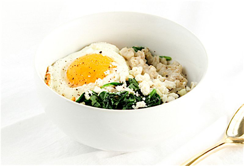 Spinach and Feta Oatmeal Bowl