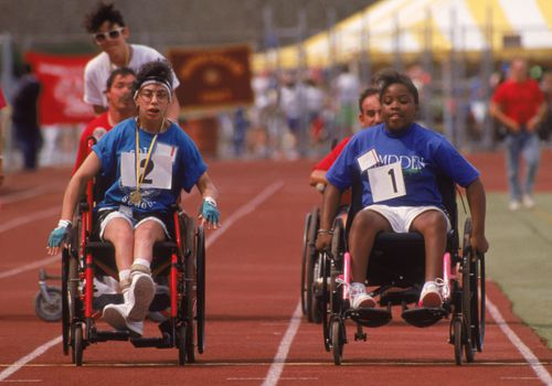 Special Olympics wheelchair race